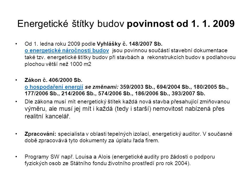 Energetické štítky budov povinnost od 1. 1. 2009
