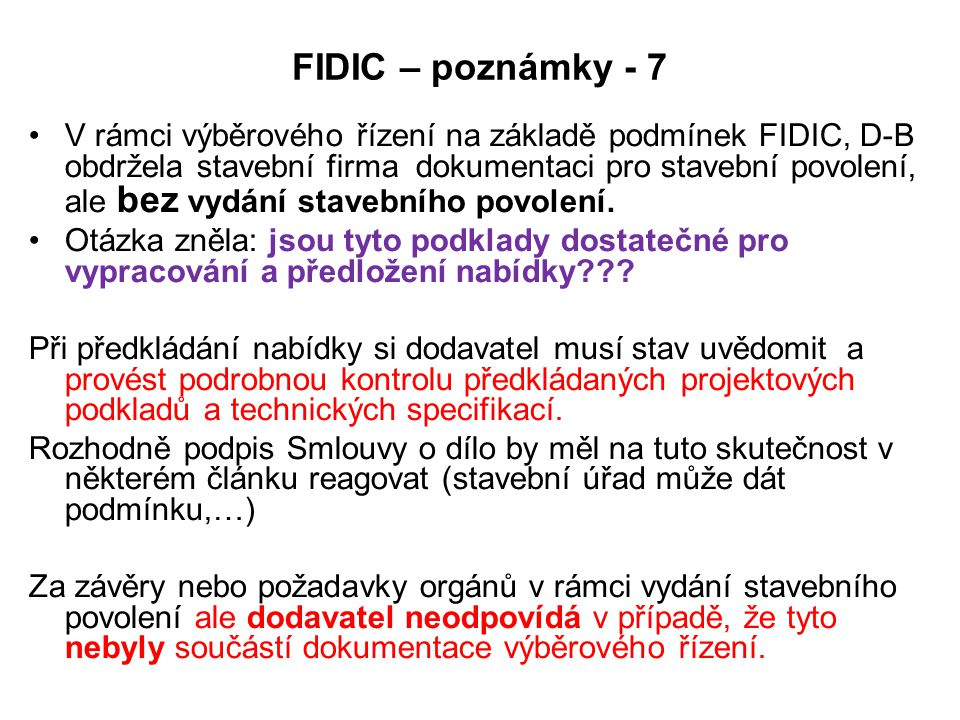 FIDIC – poznámky - 7
