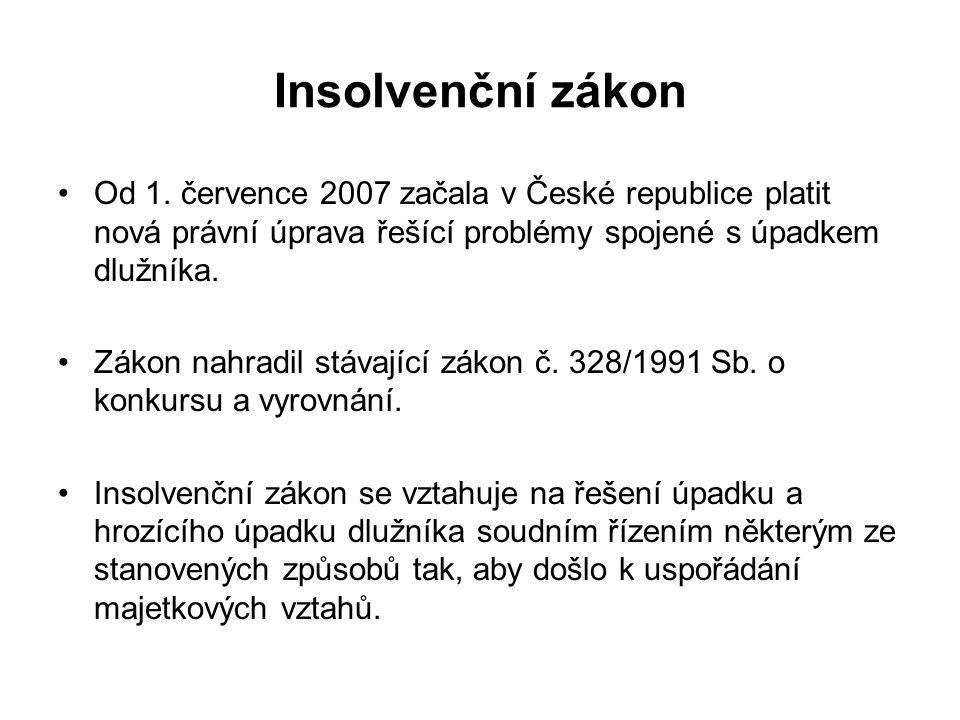 Insolvenční zákon Od 1. července 2007 začala v České republice platit nová právní úprava řešící problémy spojené s úpadkem dlužníka.