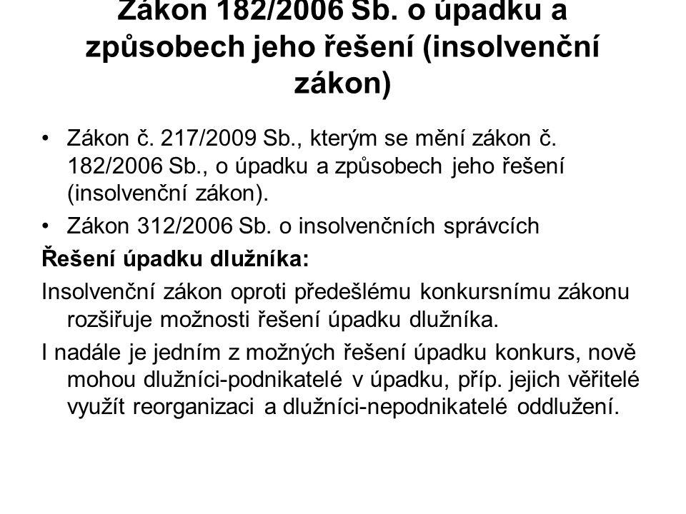 Zákon 182/2006 Sb. o úpadku a způsobech jeho řešení (insolvenční zákon)