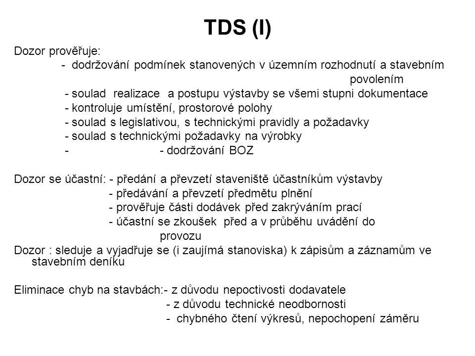 TDS (I) Dozor prověřuje: