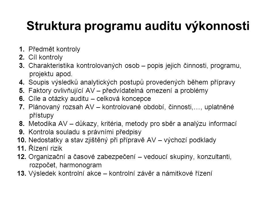 Struktura programu auditu výkonnosti