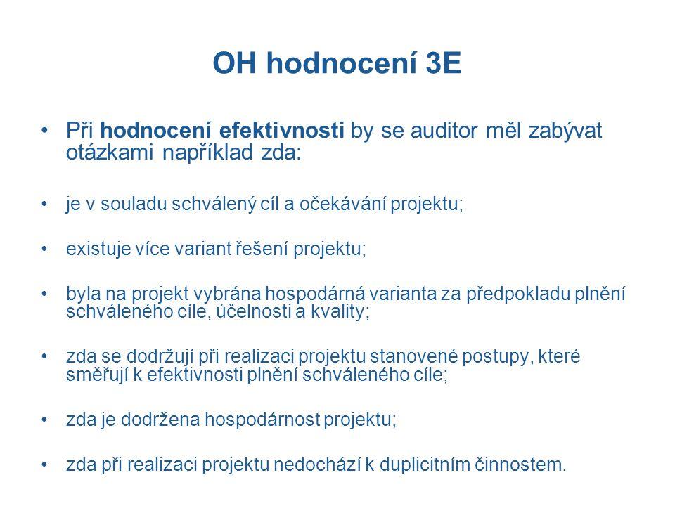 OH hodnocení 3E Při hodnocení efektivnosti by se auditor měl zabývat otázkami například zda: je v souladu schválený cíl a očekávání projektu;