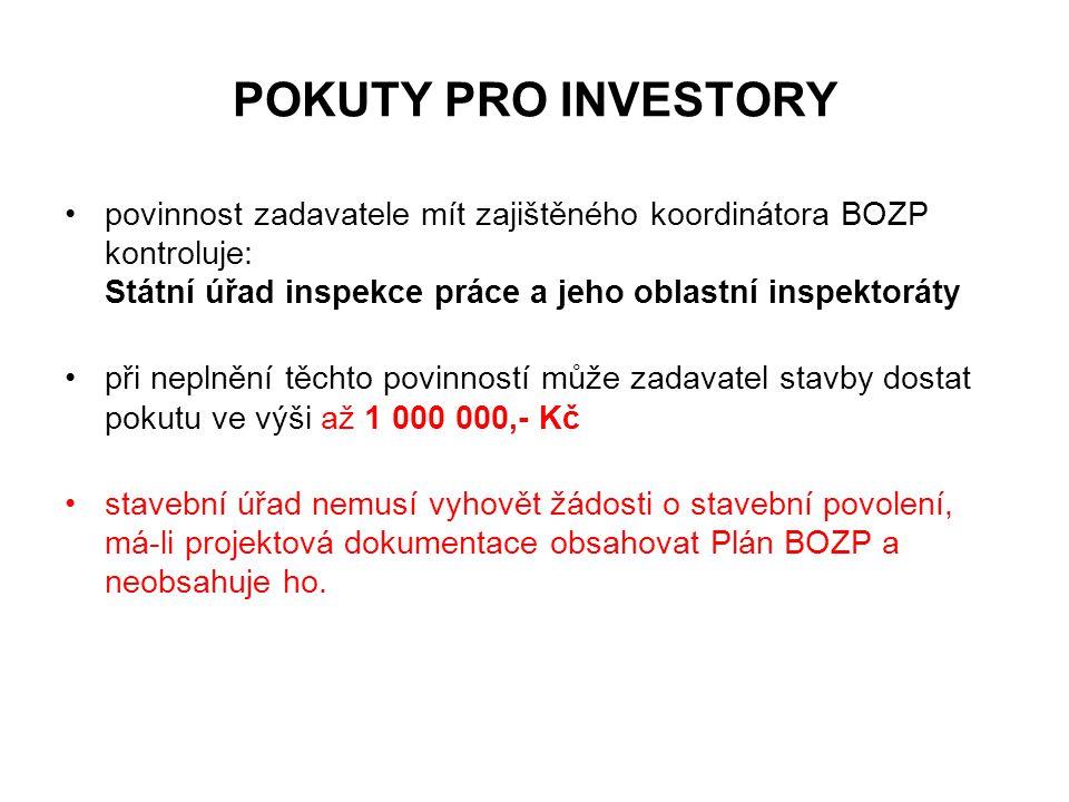 POKUTY PRO INVESTORY povinnost zadavatele mít zajištěného koordinátora BOZP kontroluje: Státní úřad inspekce práce a jeho oblastní inspektoráty.