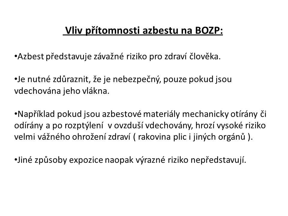 Vliv přítomnosti azbestu na BOZP: