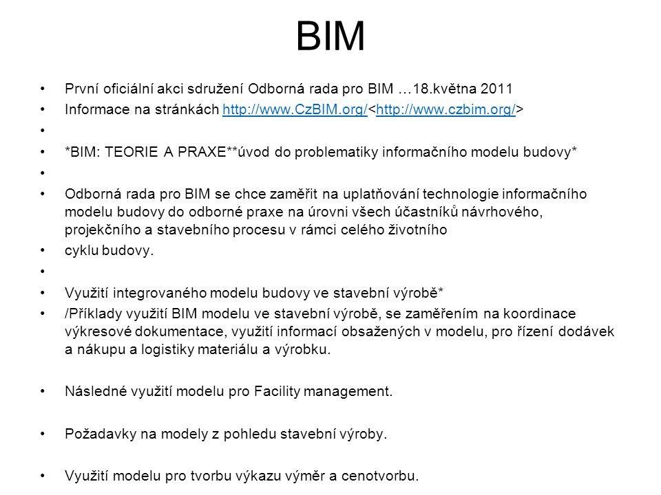 BIM První oficiální akci sdružení Odborná rada pro BIM …18.května 2011