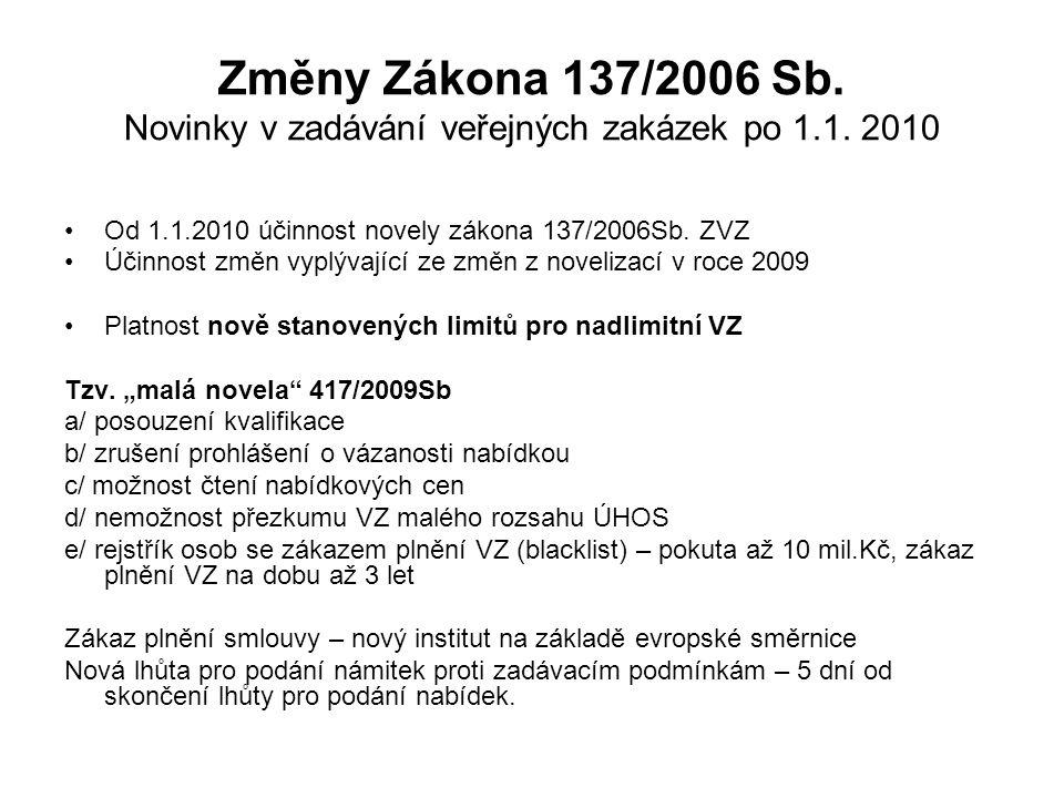Změny Zákona 137/2006 Sb. Novinky v zadávání veřejných zakázek po 1. 1