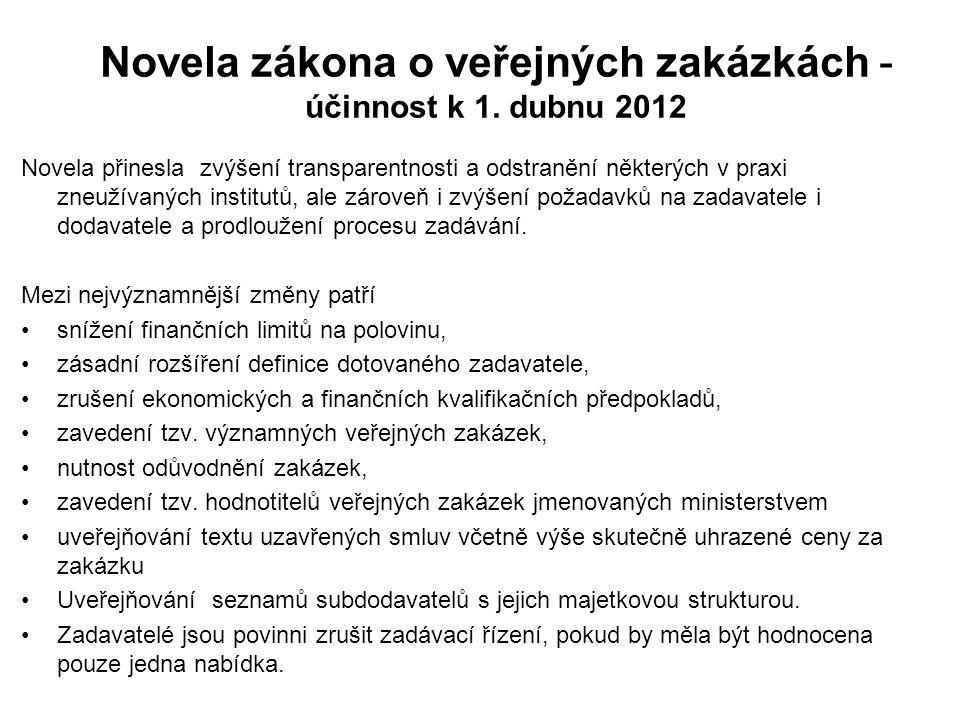 Novela zákona o veřejných zakázkách - účinnost k 1. dubnu 2012