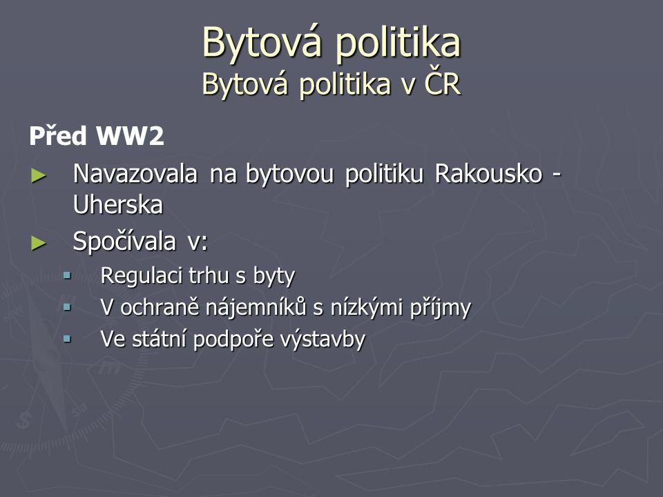 Bytová politika Bytová politika v ČR