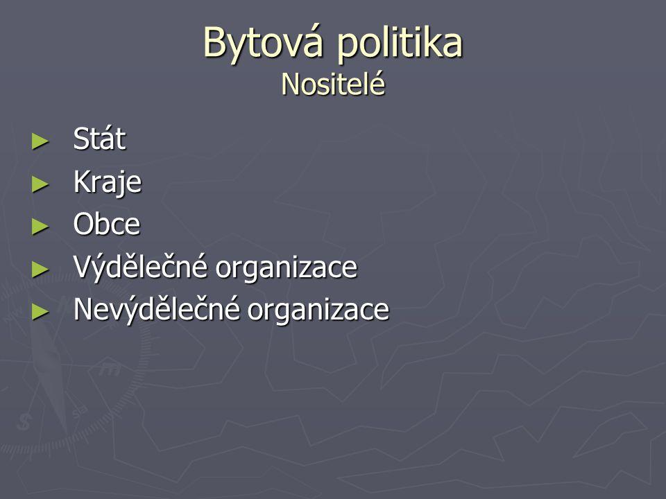 Bytová politika Nositelé
