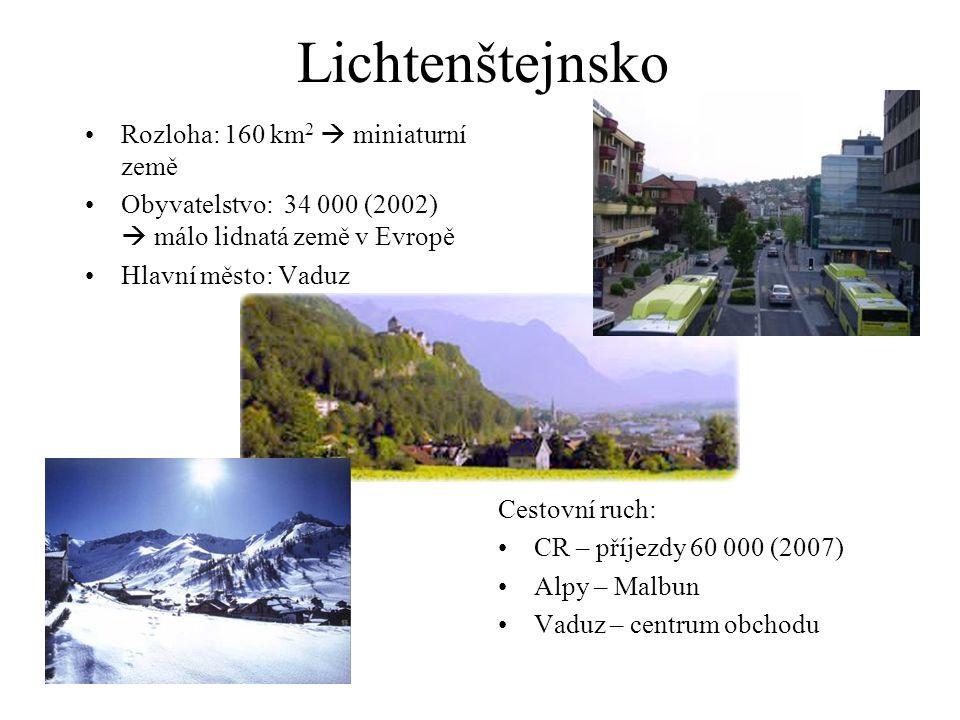 Lichtenštejnsko Rozloha: 160 km2  miniaturní země