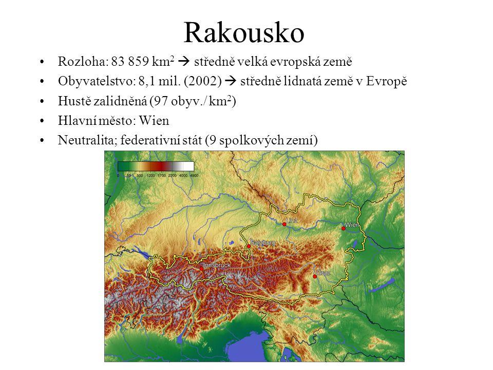 Rakousko Rozloha: 83 859 km2  středně velká evropská země