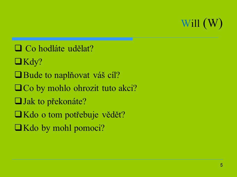 Will (W) Co hodláte udělat Kdy Bude to naplňovat váš cíl