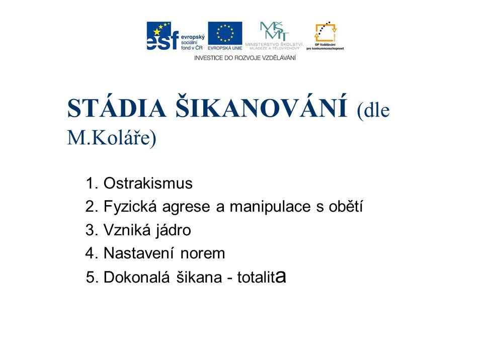 STÁDIA ŠIKANOVÁNÍ (dle M.Koláře)