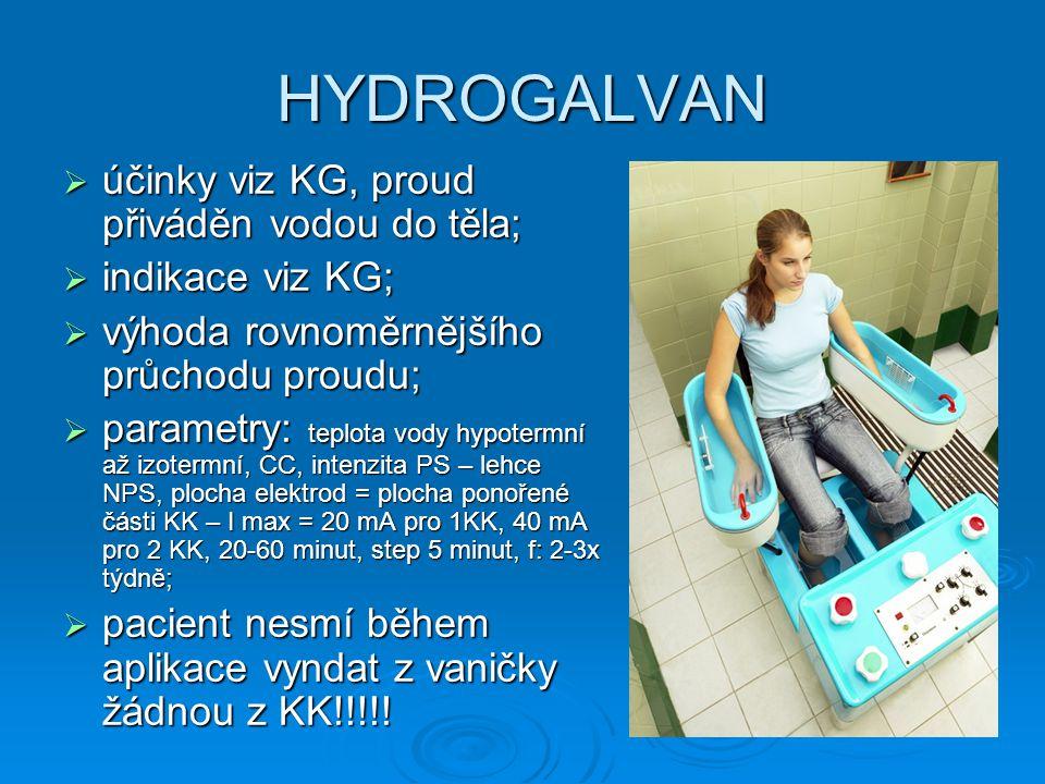 HYDROGALVAN účinky viz KG, proud přiváděn vodou do těla;