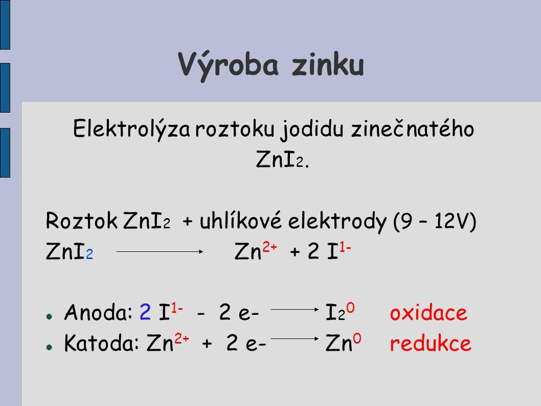 Elektrolýza roztoku jodidu zinečnatého ZnI2.
