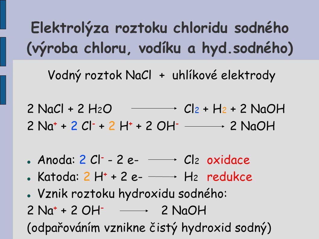 Vodný roztok NaCl + uhlíkové elektrody