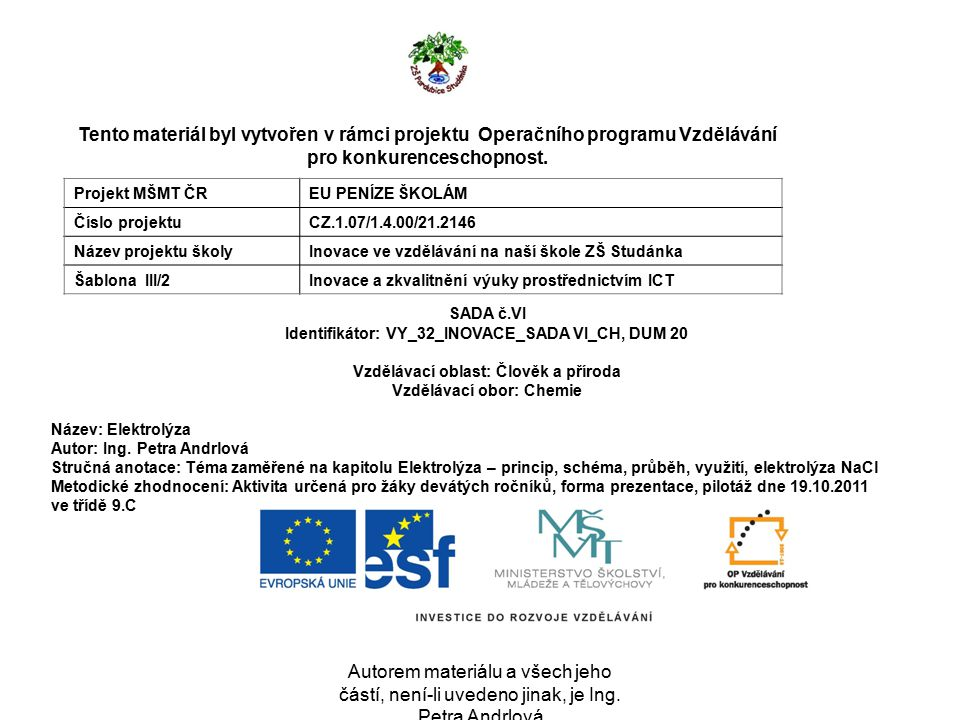 EU Peníze školám Inovace ve vzdělávání na naší škole ZŠ Studánka