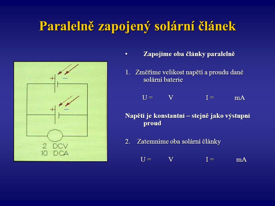 Paralelně zapojený solární článek