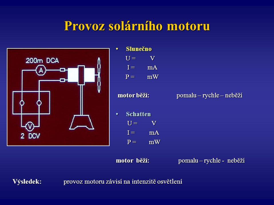 Provoz solárního motoru
