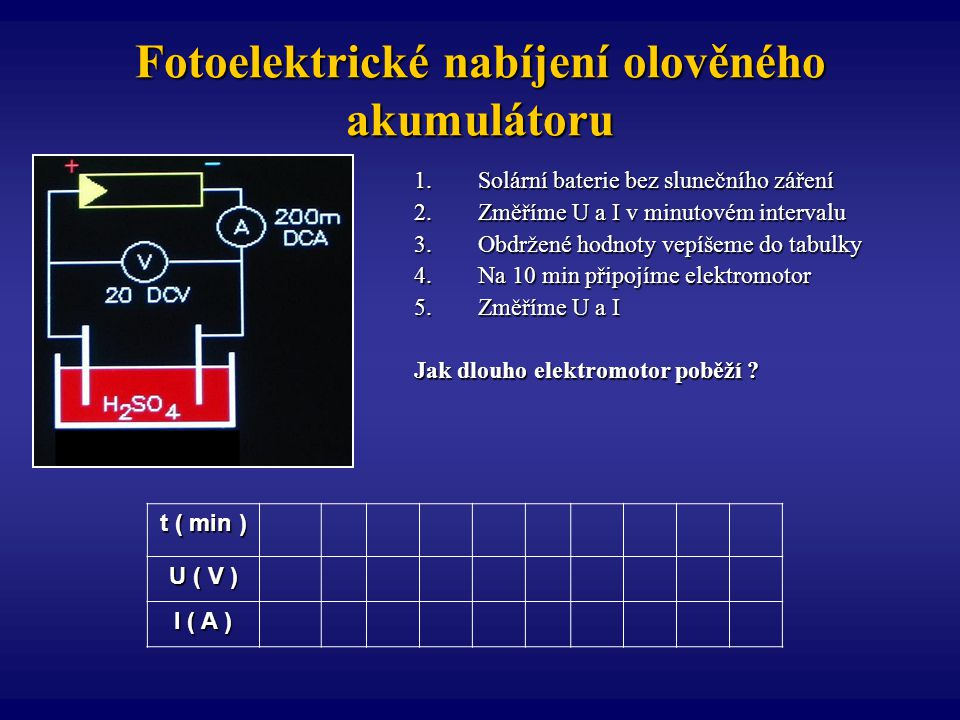 Fotoelektrické nabíjení olověného akumulátoru