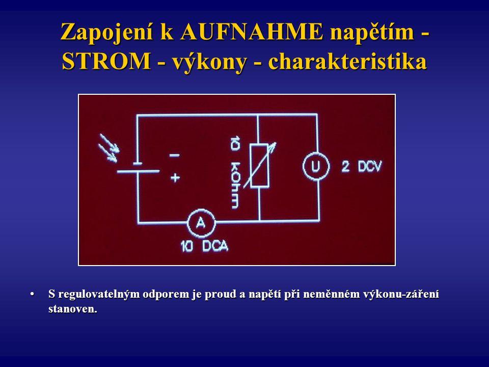 Zapojení k AUFNAHME napětím - STROM - výkony - charakteristika