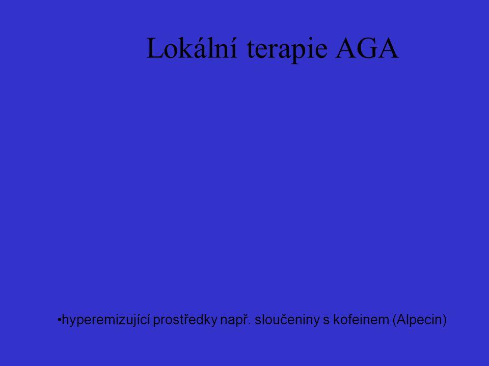 Lokální terapie AGA hyperemizující prostředky např. sloučeniny s kofeinem (Alpecin)