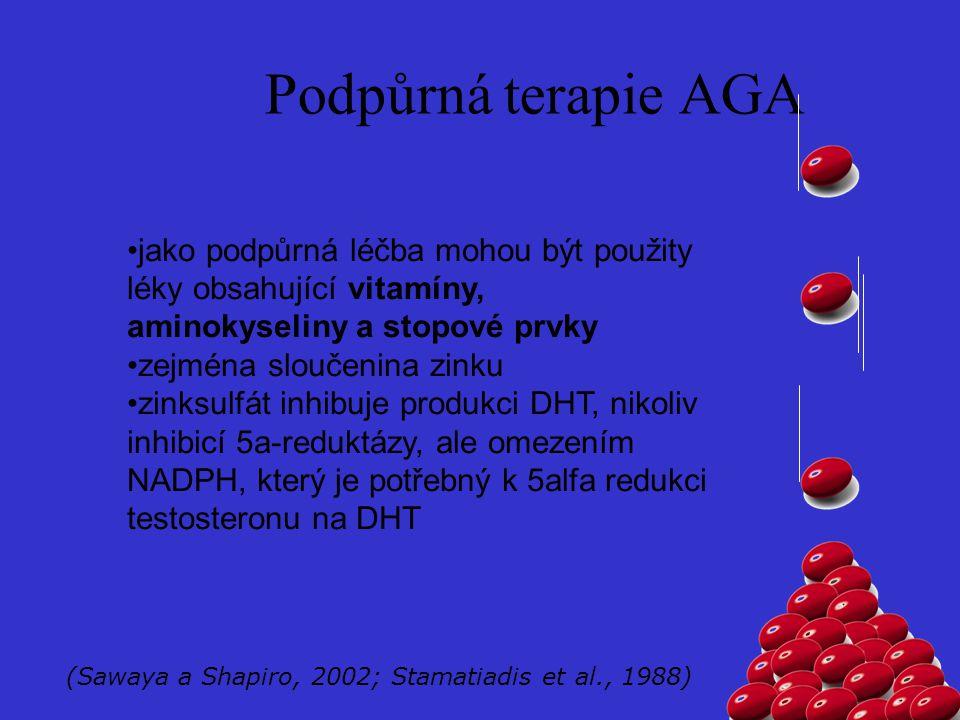 Podpůrná terapie AGA jako podpůrná léčba mohou být použity léky obsahující vitamíny, aminokyseliny a stopové prvky.