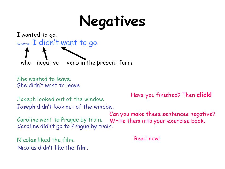Negatives I wanted to go. who negative verb in the present form
