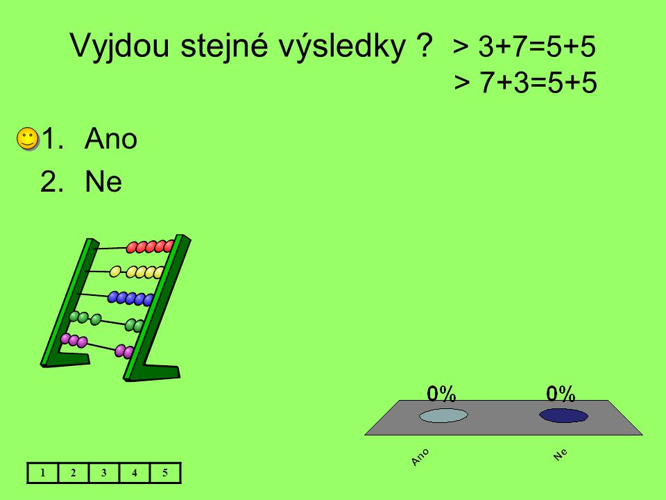 Vyjdou stejné výsledky > 3+7=5+5 > 7+3=5+5