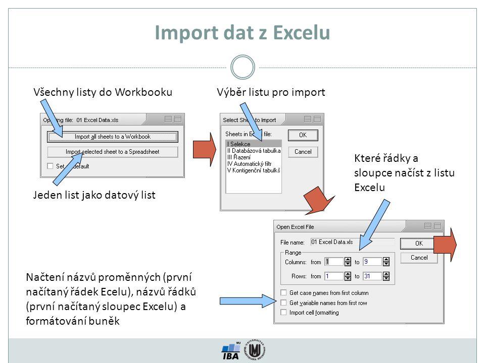 Import dat z Excelu Všechny listy do Workbooku Výběr listu pro import