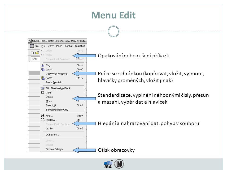 Menu Edit Opakování nebo rušení příkazů