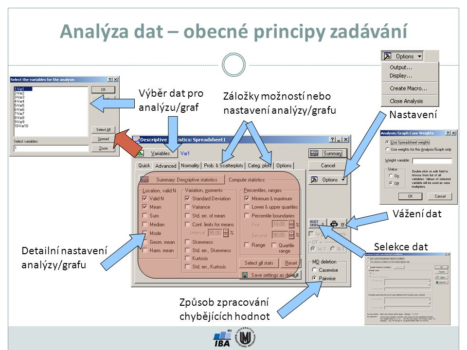 Analýza dat – obecné principy zadávání