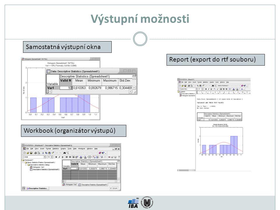 Výstupní možnosti Samostatná výstupní okna