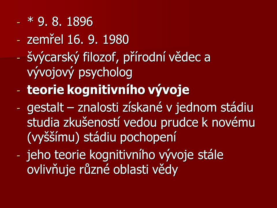 * 9. 8. 1896 zemřel 16. 9. 1980. švýcarský filozof, přírodní vědec a vývojový psycholog. teorie kognitivního vývoje.