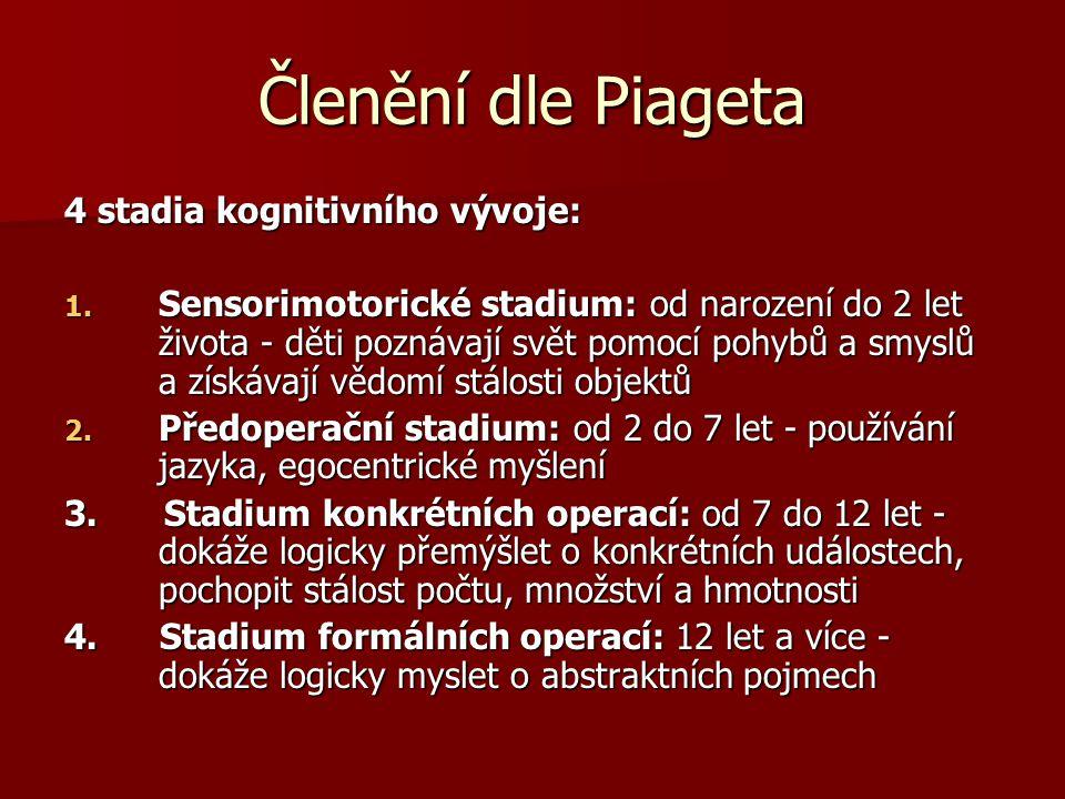 Členění dle Piageta 4 stadia kognitivního vývoje: