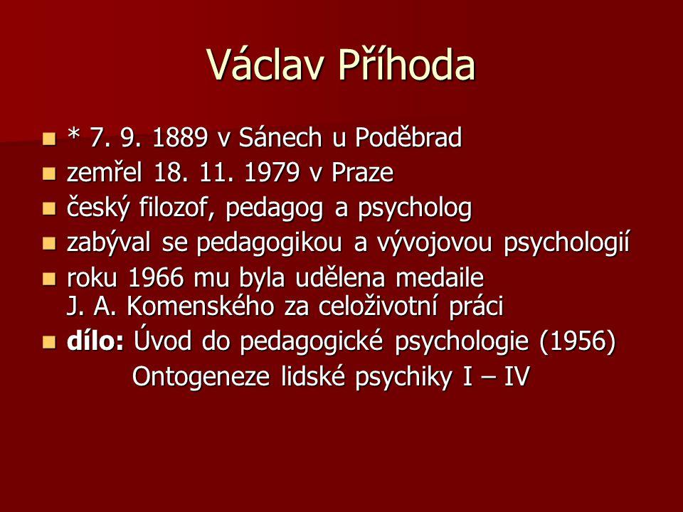 Václav Příhoda * 7. 9. 1889 v Sánech u Poděbrad