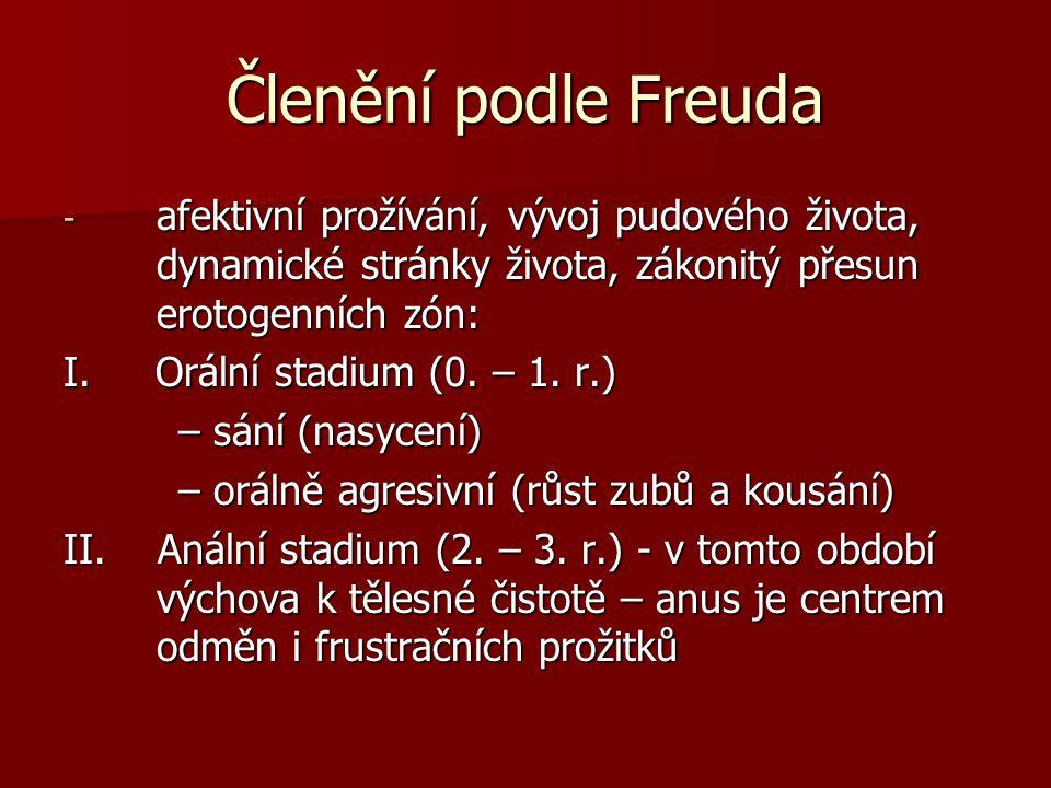 Členění podle Freuda afektivní prožívání, vývoj pudového života, dynamické stránky života, zákonitý přesun erotogenních zón: