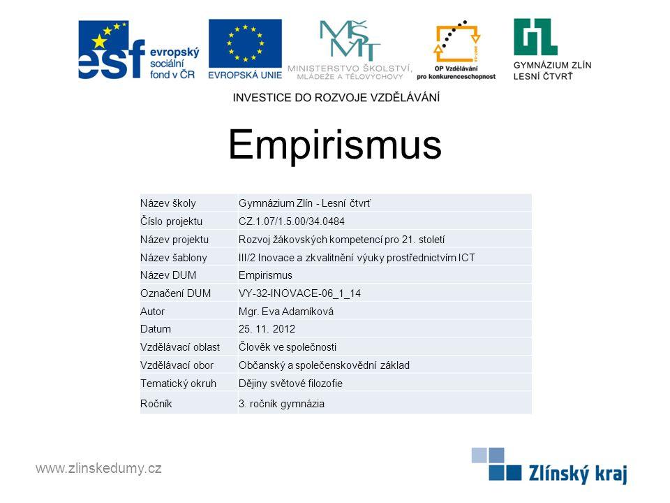 Empirismus www.zlinskedumy.cz Název školy Gymnázium Zlín - Lesní čtvrť