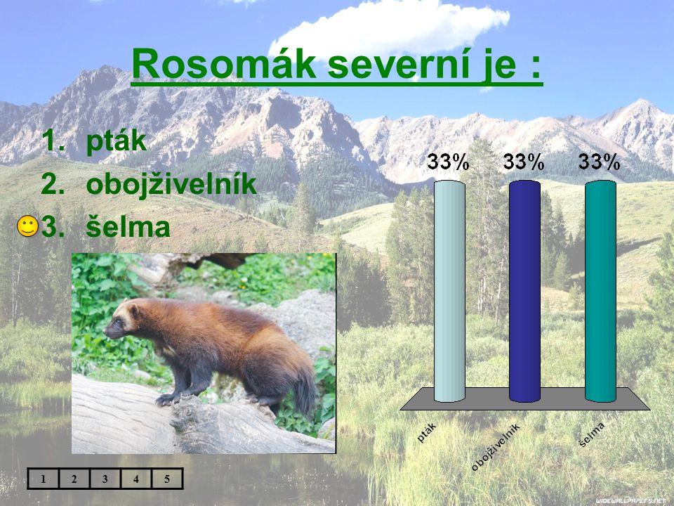 Rosomák severní je : pták obojživelník šelma 1 2 3 4 5