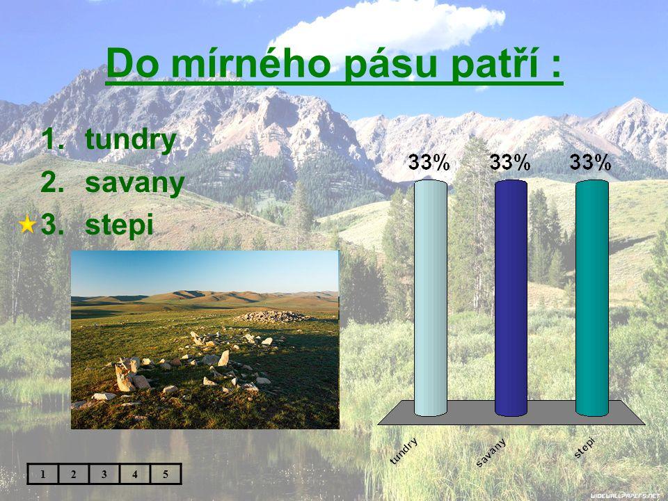Do mírného pásu patří : tundry savany stepi 1 2 3 4 5