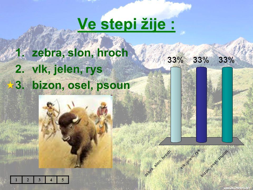 Ve stepi žije : zebra, slon, hroch vlk, jelen, rys bizon, osel, psoun