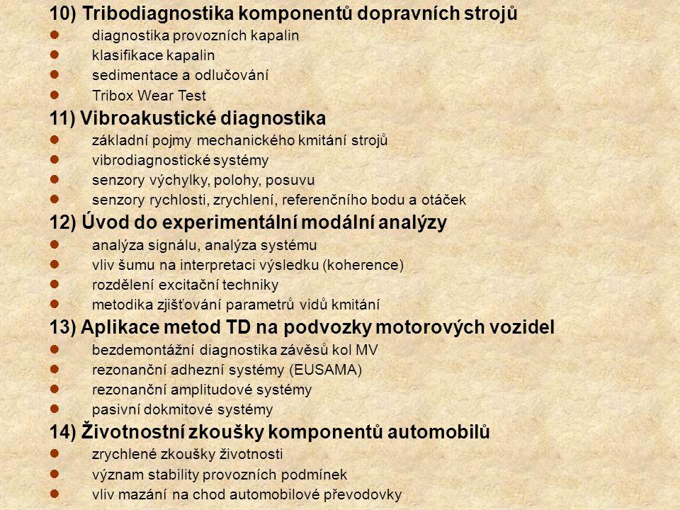 10) Tribodiagnostika komponentů dopravních strojů