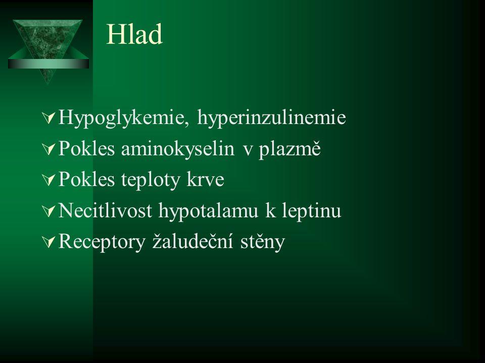 Hlad Hypoglykemie, hyperinzulinemie Pokles aminokyselin v plazmě