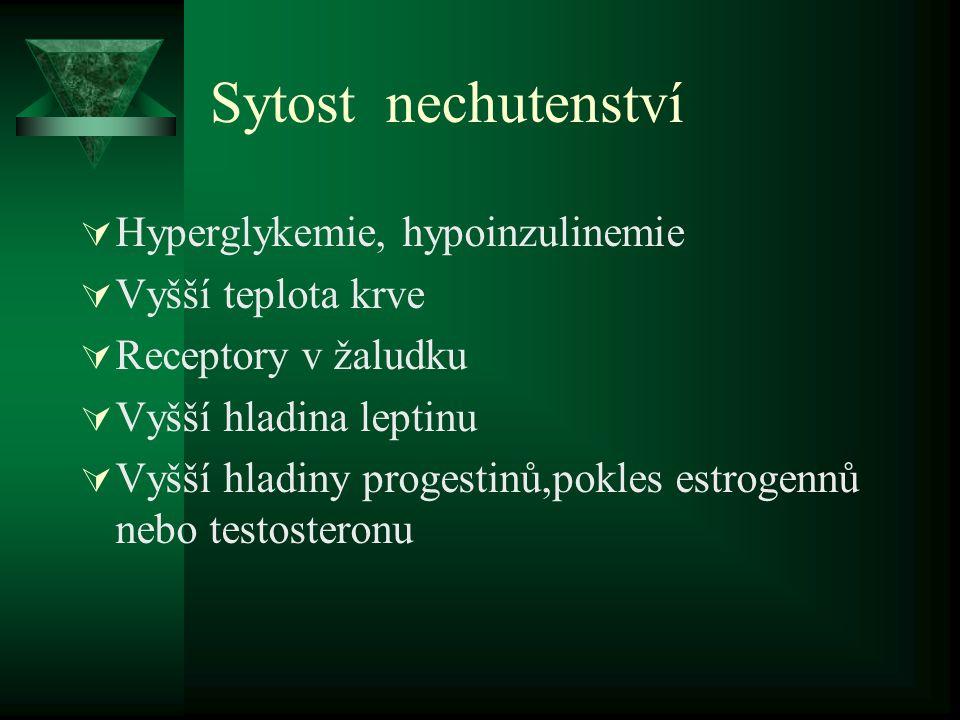 Sytost nechutenství Hyperglykemie, hypoinzulinemie Vyšší teplota krve