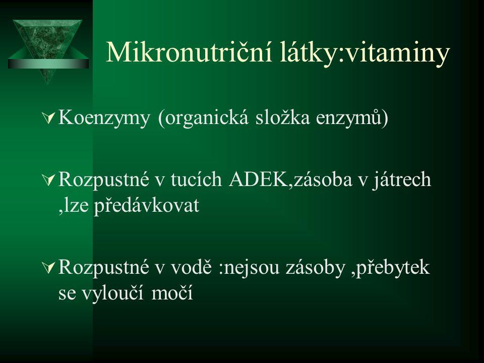 Mikronutriční látky:vitaminy