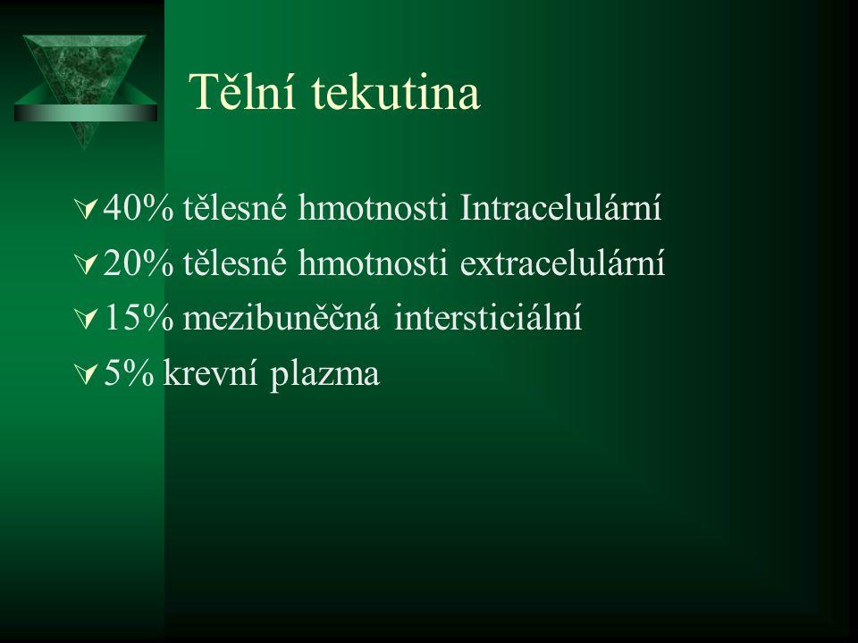 Tělní tekutina 40% tělesné hmotnosti Intracelulární