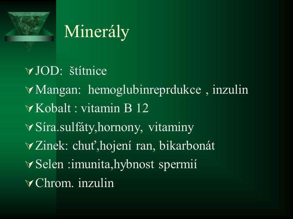 Minerály JOD: štítnice Mangan: hemoglubinreprdukce , inzulin