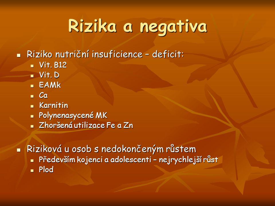 Rizika a negativa Riziko nutriční insuficience – deficit: