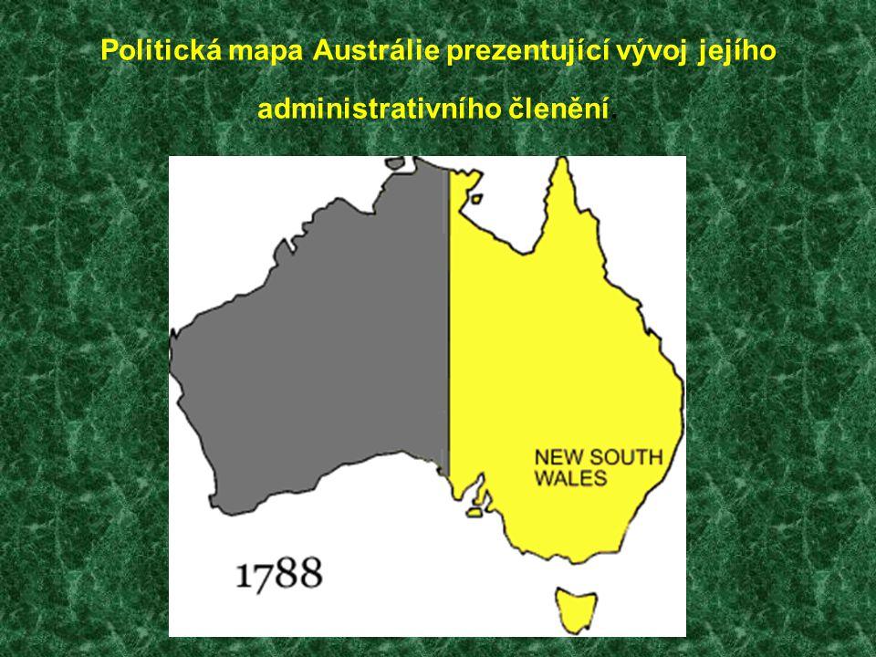 Politická mapa Austrálie prezentující vývoj jejího administrativního členění.
